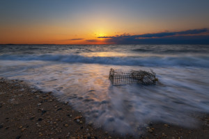 Sandy Hook Crab Cage Washed Up, jersey shore, sun, set, sun burst, amazing, colorful, fine art, beautiful, best new jersey photographer, photography