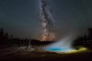 silex spring milky way yellowstone national park wyoming