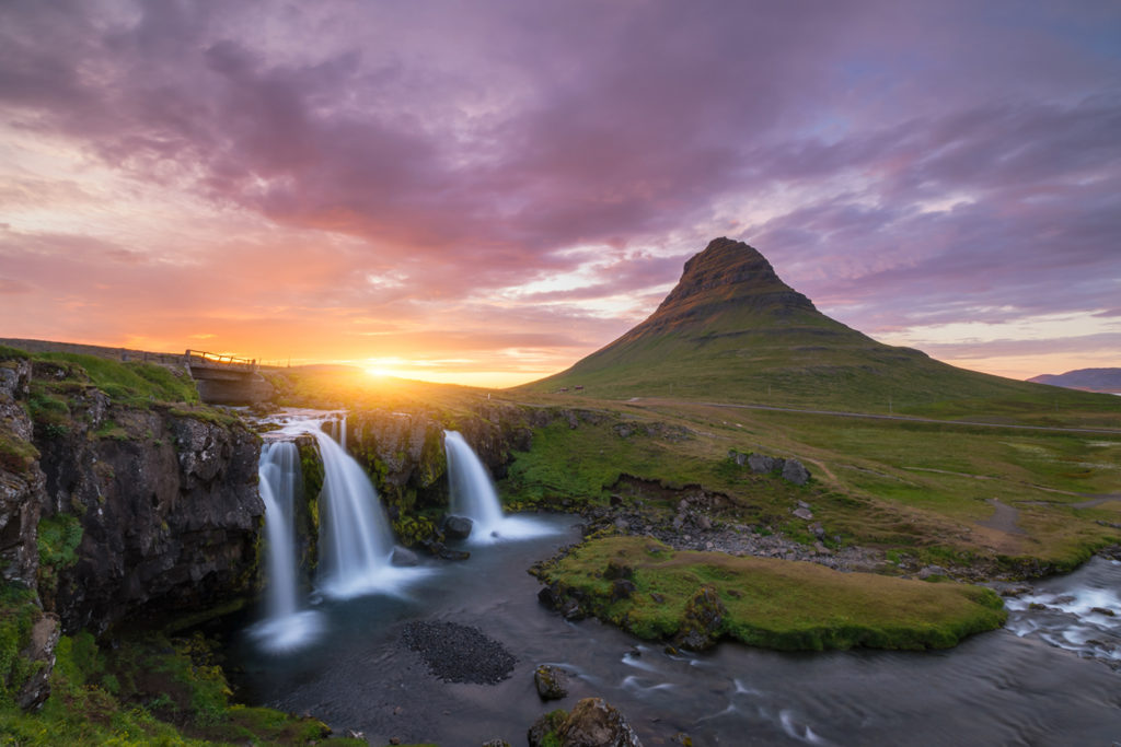 Kirkjufell and Kirkjufellsfoss sunset
